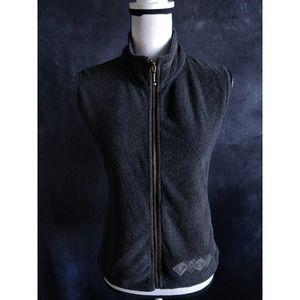 Columbia Charcoal Gray Fleece Zip Sweater Vest M